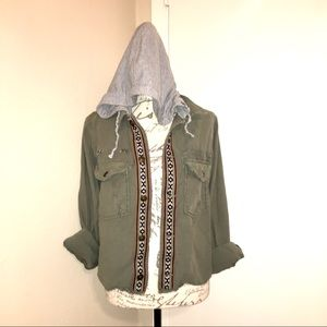 Free People Army Green Boho Casual Hooded Jacket